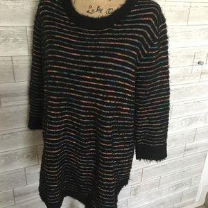 Ultra-soft black striped sweater